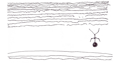 image: a stick figure man, inverted, falling into the sea...or is he falling into the sky?