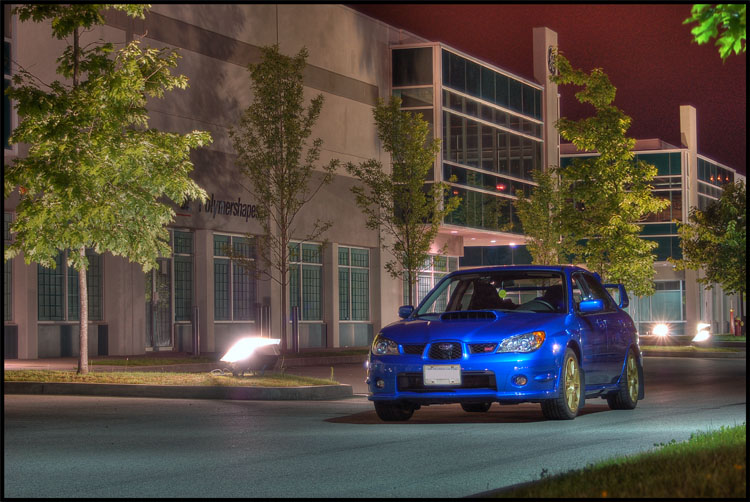 Subaru STI at night