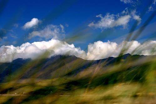 Mountains through the grass