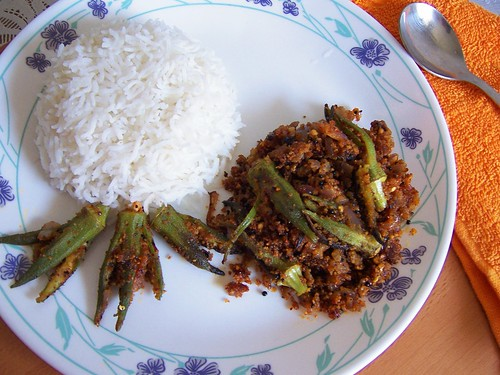 Stuffed Okra with hot Rice
