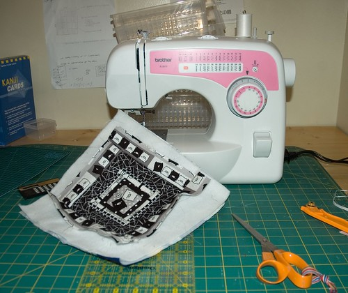 quilt square and new sewing machine