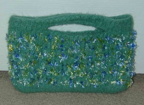 Green Purse after felting