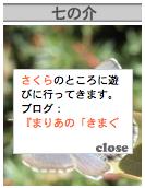 A blogpet, called Shichi-no-suke, says