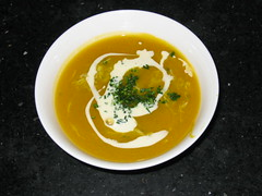 Pumpkin-crabmeat soup