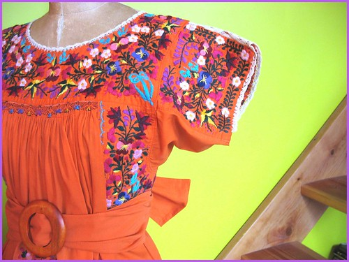 orange vintage mexican dress close up