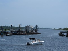 Sunset Beach Pontoon Bridge open for boat traffic