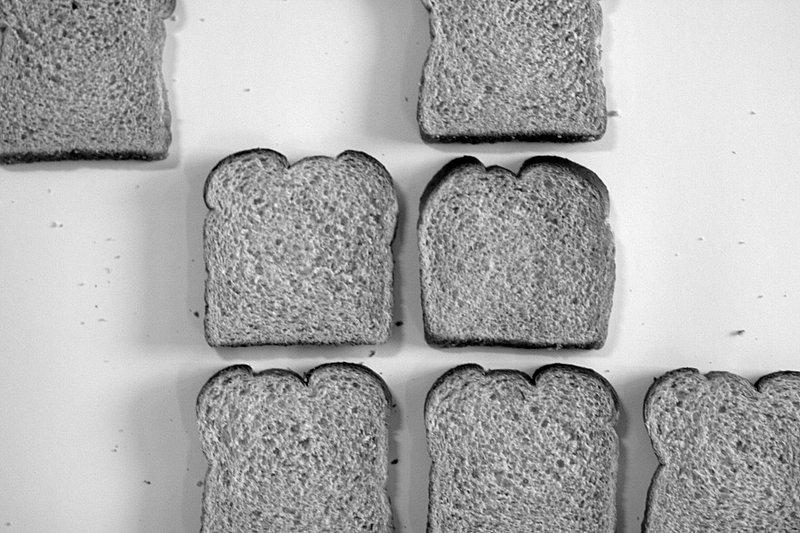 Bread cubes under brights lights