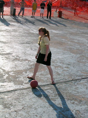 Dodgeball Court. Over on the dodgeball court,