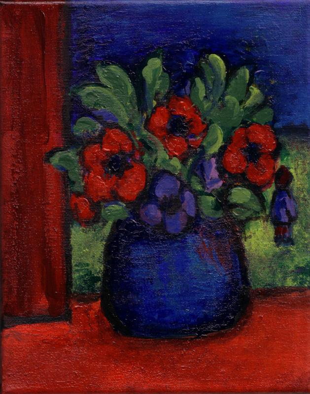anemones in blue vase, aletta mes 2006