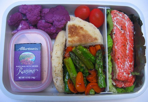 Salmon & purple lunch
