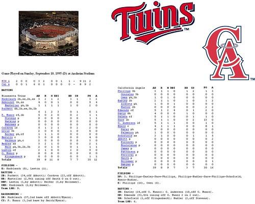 Twins vs. Angels - Sept. 10,1995