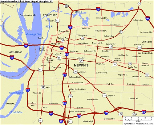 road_map_of_memphis_tn_usa