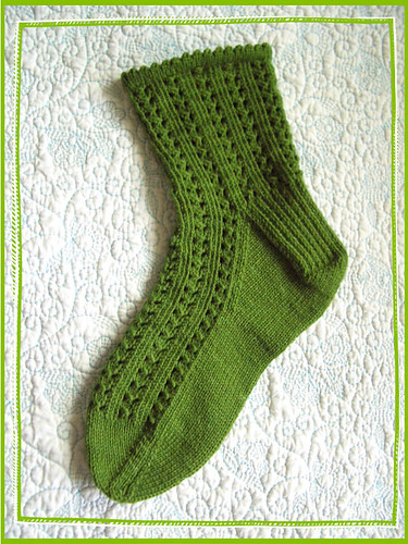 single green girly sock