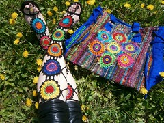 """Granny Mandala Gladiators"" Crochet Lace Shoes And Upcycled Technicolor Crochet Sun Mandala Tote Bag photo by babukatorium"
