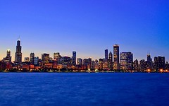 Chicago skyline at dusk, Illinois, USA photo by Sir Francis Canker Photography ©