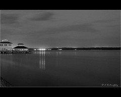 Pierside Solomons MD at Night_BW photo by d LR Images (formerly Darrenlr)
