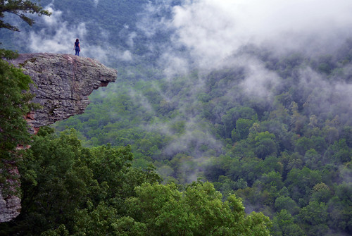 Up In The Clouds on Hawksbill Crag / Whitaker Point in the Ozark Mountains, Arkansas photo by Jeff Rose Photography