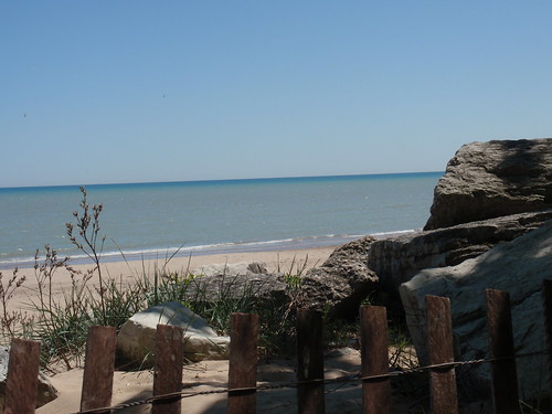 Lake Michigan Shoreline with Fence
