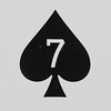 Round Playing Card 7 of Spades