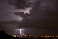 Triple Bolts over Commodore Barry Bridge photo by Steve Maciejewski