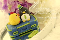 LOVE ANGELS Wedding Cake Topper-love chicken & penguin with luggage base photo by charles fukuyama