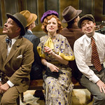 Kevin Gudahl (Ladislav), Heidi Kettenring (Ilona), and Bernard Balbot (Arpad) in SHE LOVES ME at Writers Theatre. Photos by Michael Brosilow.