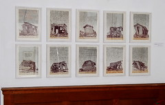 Hanging day at Rye Art Gallery - 'The Art of the Linocut' - Twister X photo by Bruners