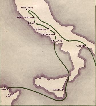 13 DBLE- 1944- Carte Campagne d'Italie