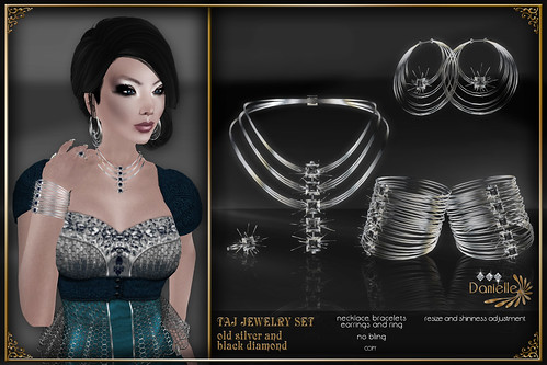 DANIELLE Taj Jewelry Set Old Silver And Black Diamond