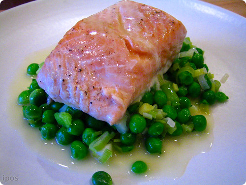 Local king salmon with sweet peas, green garlic and champagne sauce