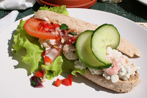 shrimp salad on baguette
