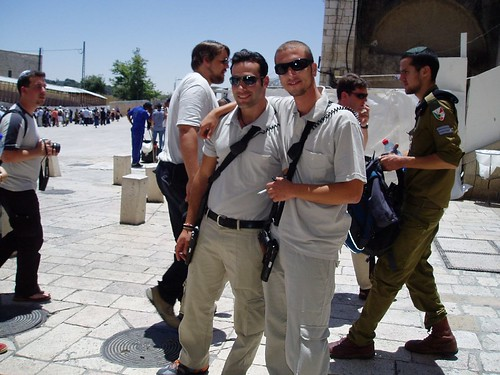 Security guys near the wailing wall