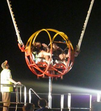 Alex and Di in the bungee ball