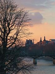 Rita Crane Photography: silhouette / La Seine / river / bridge / Pont des Arts / clouds / Winter Sunset over Pont des Arts & the Louvre, Paris photo by Rita Crane Photography
