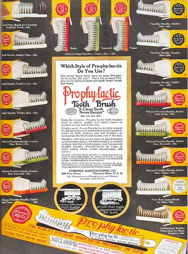 Pro-phy-lac-tic Toothbrushes ad, 1916