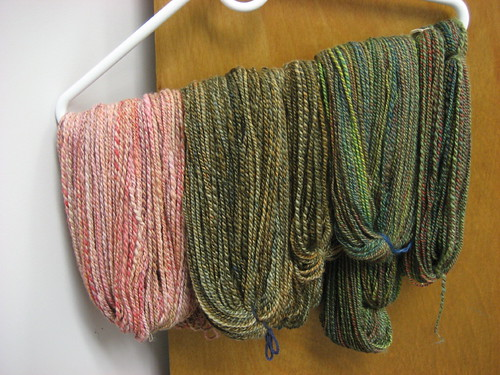 Spun yarns hanging out at work, waiting for their closeup