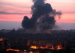 Aspecto de Beirut tras el intenso bombardeo israelí de ayer