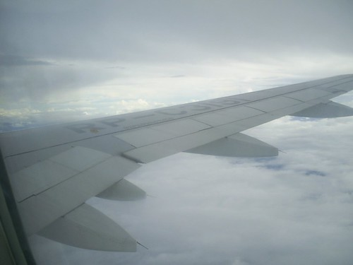 flying over cloudy skies