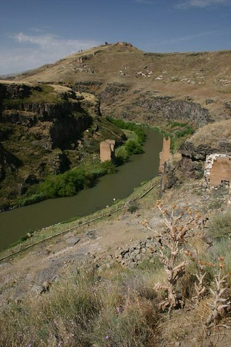 Ruined bridge on the shores of the Turkish and Armenian borders...Ani ruin complex.