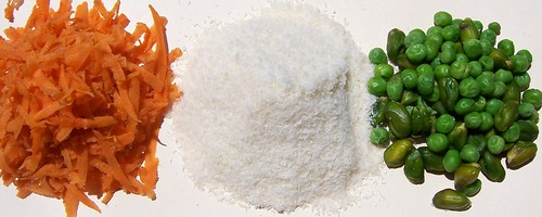 Grated Carrot,Dessicated Coconut ,Pistachio ,Green Peas