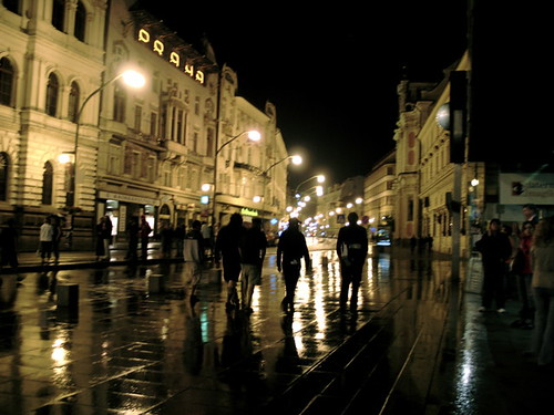 Rainy Prague Night: Narodni Divadlo