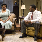 Cheryl Lynn Bruce (Elizabeth) and Kelvin Roston Jr. (Husband) in THE OLD SETTLER at Writers Theatre. Photos by Michael Brosilow.