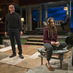 Jonathan Weir (Frank) and Emily Berman (Tessa) in DAYS LIKE TODAY at Writers Theatre. Photo by Michael Brosilow.