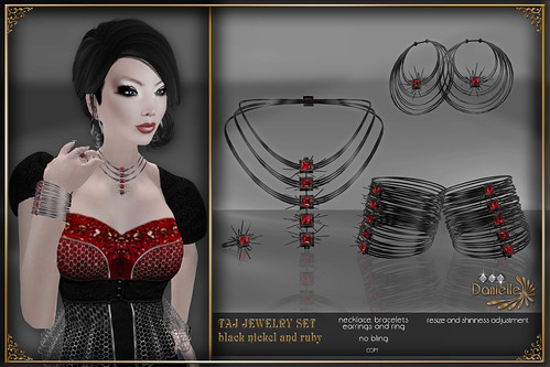 DANIELLE Taj Jewelry Set Black Nickel And Ruby