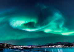 Aurora Borealis over Sørreisa, Norway. (Explored at no 8) photo by Bhalalhaika