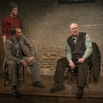 Rob Fenton (Kevin), John Hoogenakker (Dermot) and Patrick Clear (Joe) in PORT AUTHORITY at Writers Theatre. Photo by Michael Brosilow.