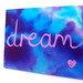Ibiza - Dream - A Felted Painting in Blue tye dye with the word Dream in Pink - Stretched on a Canvas Art Frame