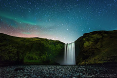Night at Skógafoss photo by CNaene