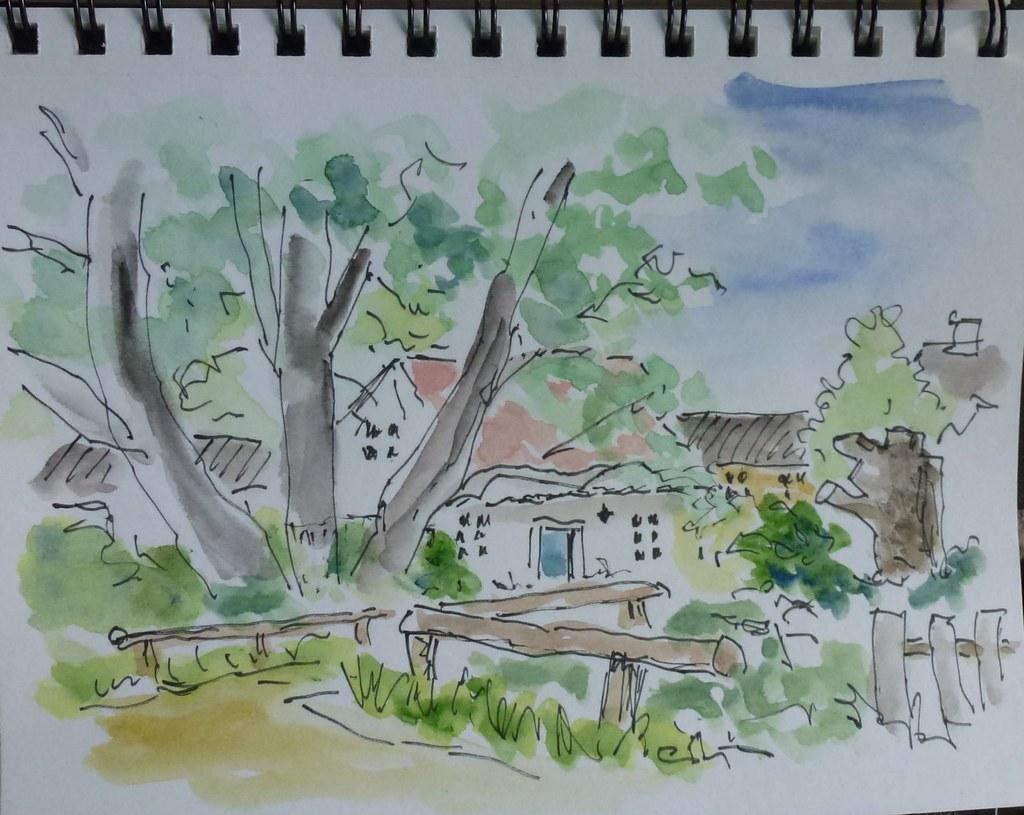 Husjomfruens hus i Vemmetofte, akvarel af Povl Schultze