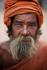 Old nepali man with blue eyes, Bhaktapur, Katmandu Valley, Nepal photo by Alex_Saurel